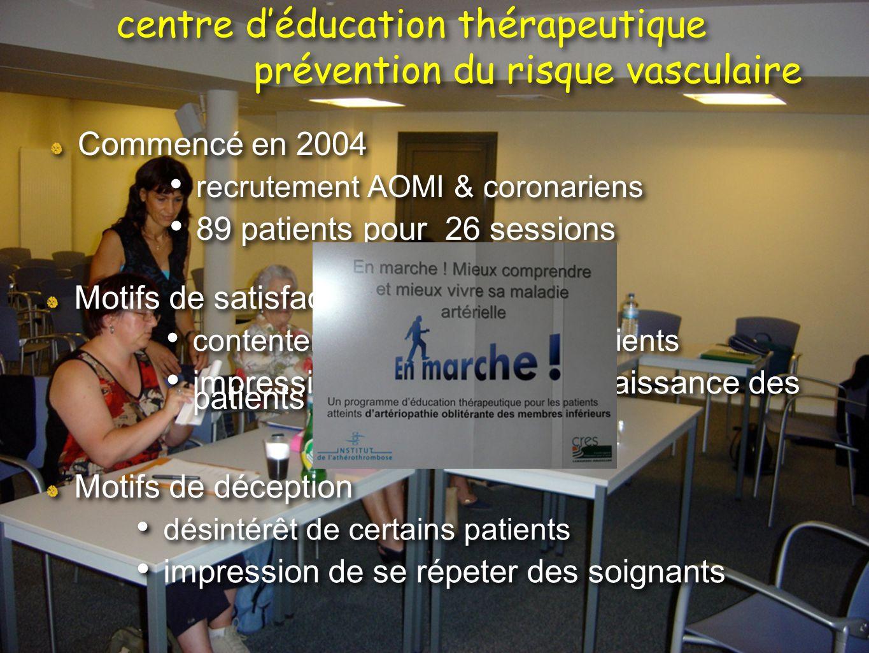 Commencé en 2004 recrutement AOMI & coronariens 89 patients pour 26 sessions Commencé en 2004 recrutement AOMI & coronariens 89 patients pour 26 sessi