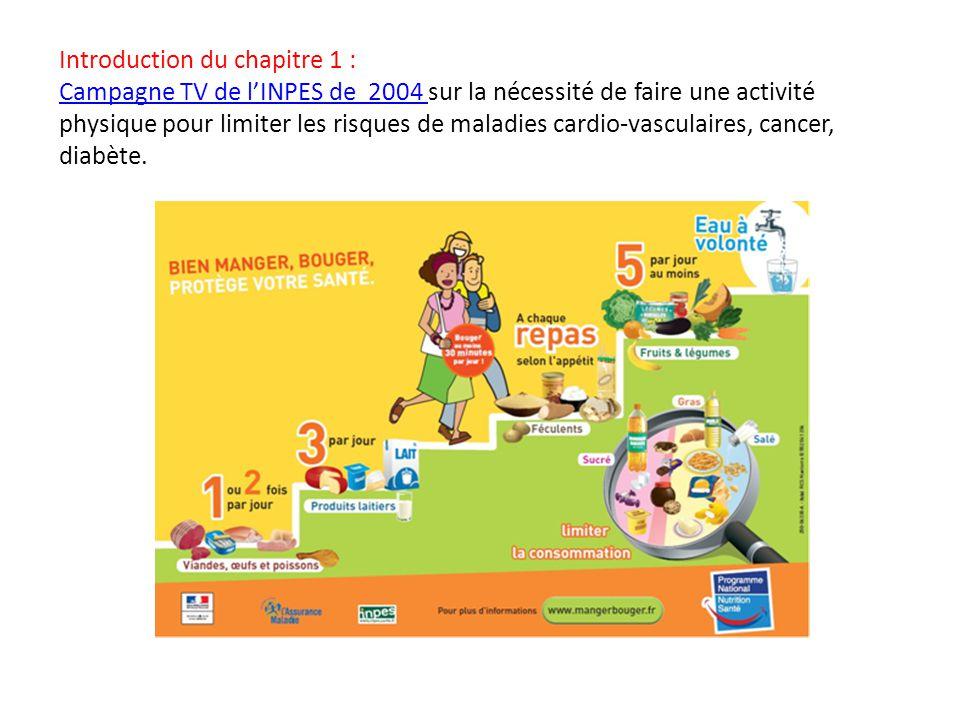 Introduction du chapitre 1 : Campagne TV de l'INPES de 2004 sur la nécessité de faire une activité physique pour limiter les risques de maladies cardi