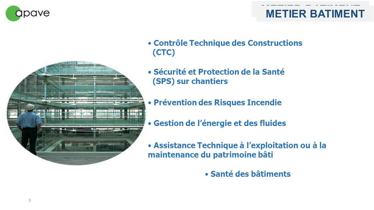 9 Gestion de l'énergie et des fluides Contrôle Technique des Constructions (CTC) Sécurité et Protection de la Santé (SPS) sur chantiers Santé des bâti