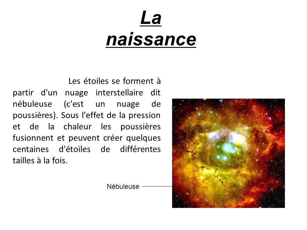 Les étoiles se forment à partir d'un nuage interstellaire dit nébuleuse (c'est un nuage de poussières). Sous l'effet de la pression et de la chaleur l