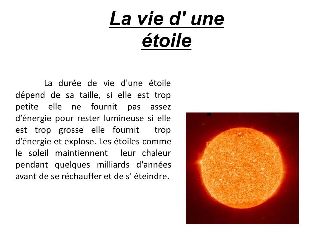 La vie d' une étoile La durée de vie d'une étoile dépend de sa taille, si elle est trop petite elle ne fournit pas assez d'énergie pour rester lumineu