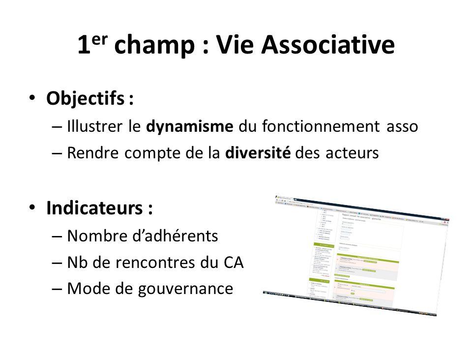 1 er champ : Vie Associative Objectifs : – Illustrer le dynamisme du fonctionnement asso – Rendre compte de la diversité des acteurs Indicateurs : – N