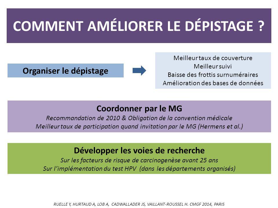 COMMENT AMÉLIORER LE DÉPISTAGE .