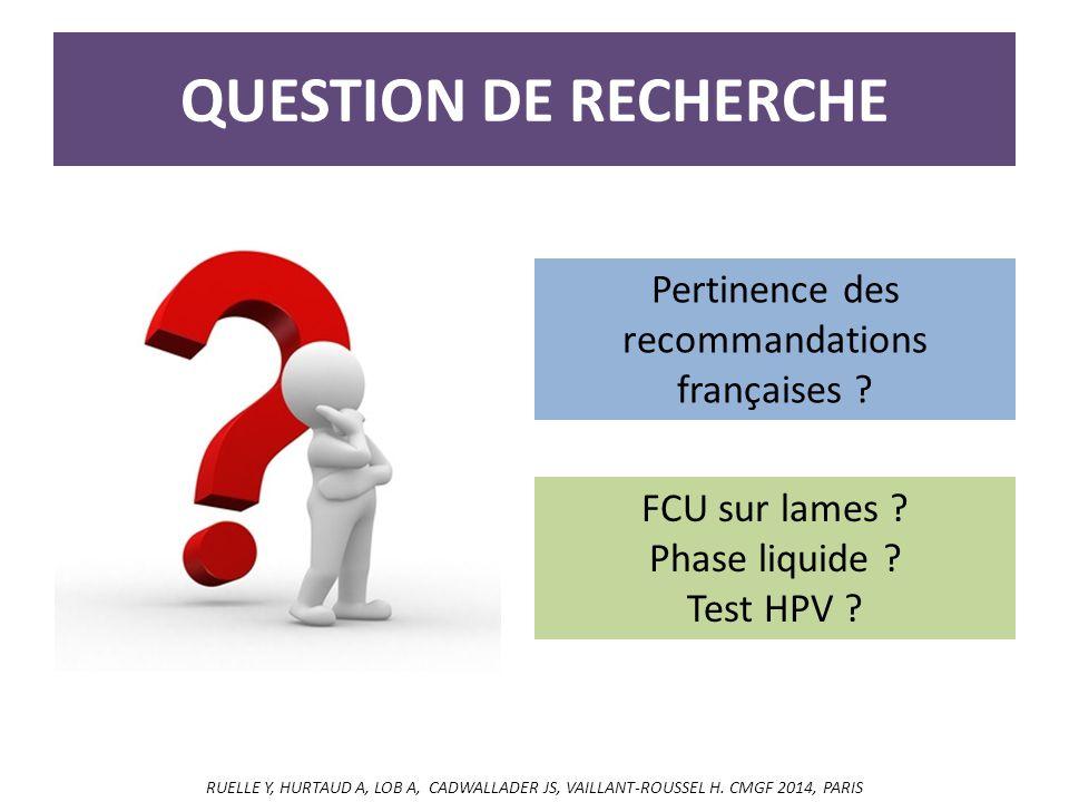QUESTION DE RECHERCHE Pertinence des recommandations françaises .