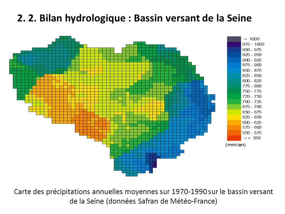 Carte des précipitations annuelles moyennes sur 1970-1990 sur le bassin versant de la Seine (données Safran de Météo-France)