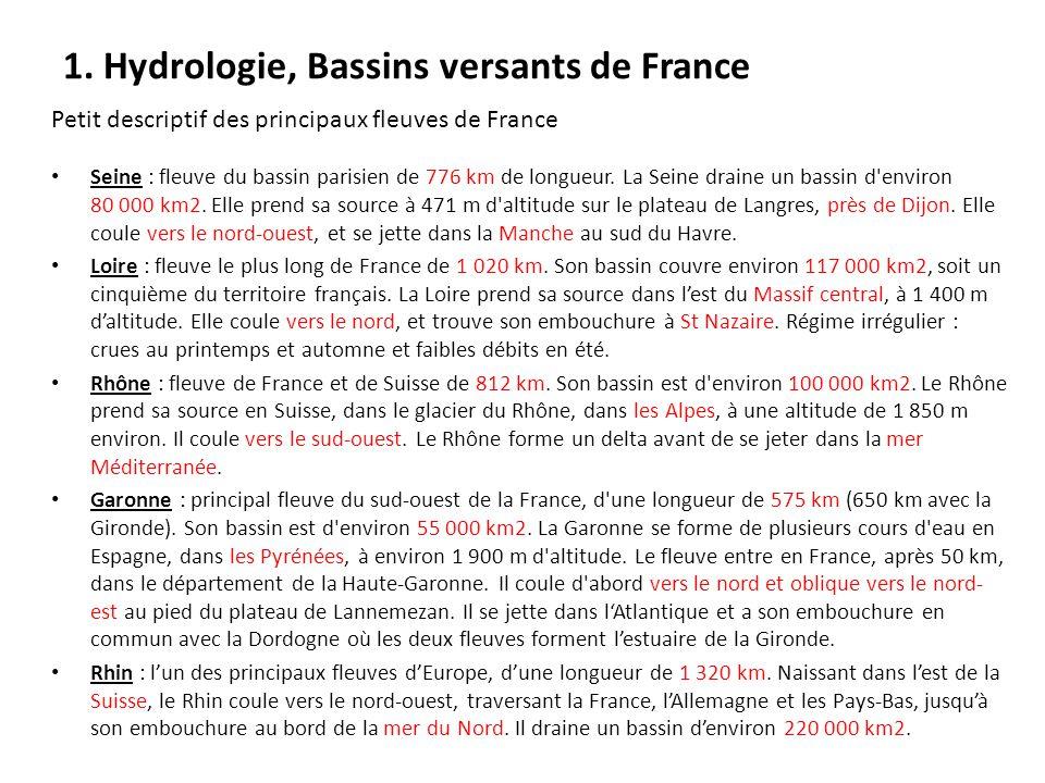 1. Hydrologie, Bassins versants de France Petit descriptif des principaux fleuves de France Seine : fleuve du bassin parisien de 776 km de longueur. L