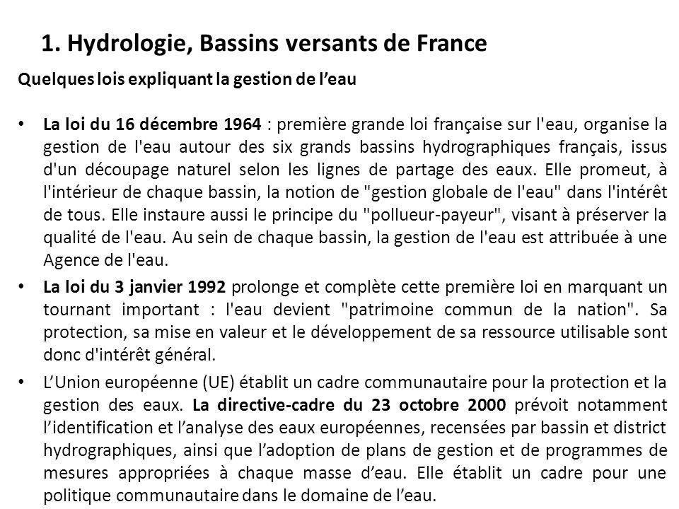 Quelques lois expliquant la gestion de l'eau La loi du 16 décembre 1964 : première grande loi française sur l'eau, organise la gestion de l'eau autour