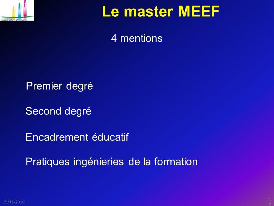 15 25/11/2010 Le master MEEF 4 mentions Second degré Premier degré Encadrement éducatif Pratiques ingénieries de la formation