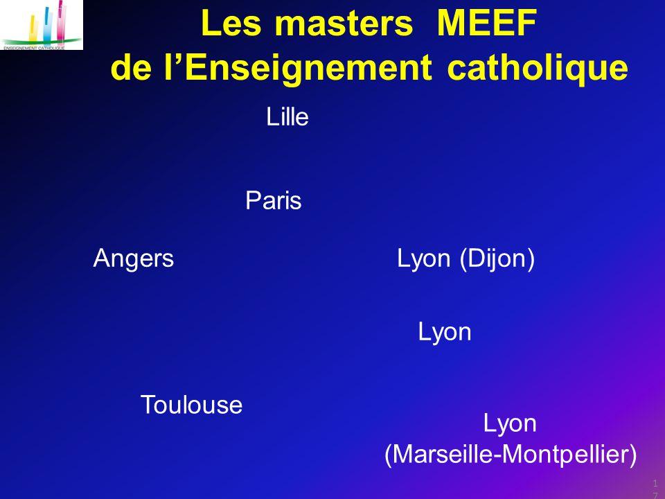 17 Les masters MEEF de l'Enseignement catholique Paris Lille AngersLyon (Dijon) Lyon (Marseille-Montpellier) Toulouse