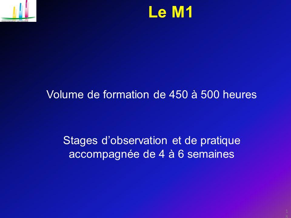 18 Le M1 Stages d'observation et de pratique accompagnée de 4 à 6 semaines Volume de formation de 450 à 500 heures