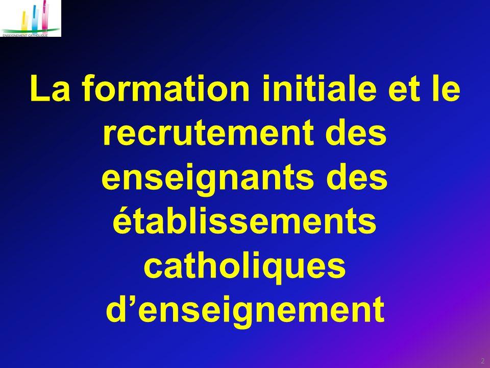 La formation initiale et le recrutement des enseignants des établissements catholiques d'enseignement 2