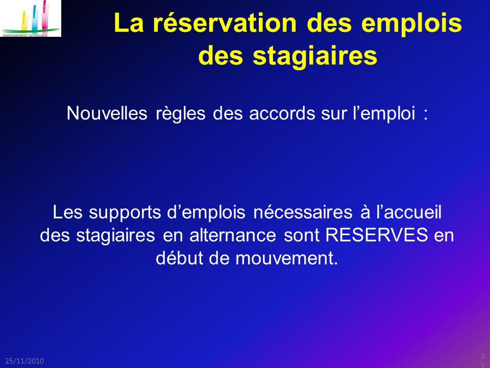 31 25/11/2010 La réservation des emplois des stagiaires Nouvelles règles des accords sur l'emploi : Les supports d'emplois nécessaires à l'accueil des stagiaires en alternance sont RESERVES en début de mouvement.