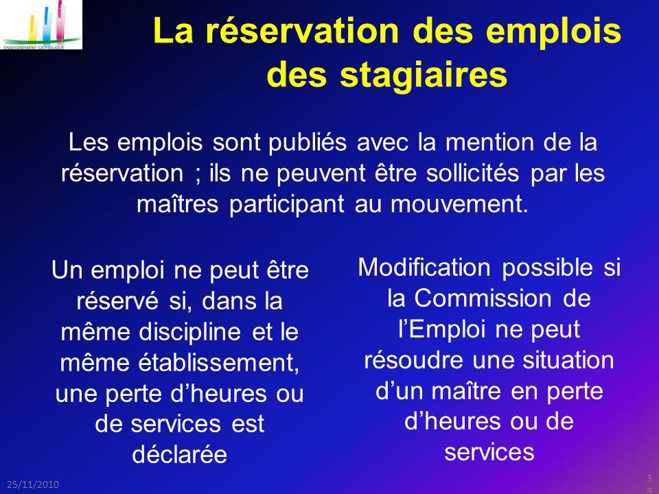 33 25/11/2010 La réservation des emplois des stagiaires Les emplois sont publiés avec la mention de la réservation ; ils ne peuvent être sollicités par les maîtres participant au mouvement.