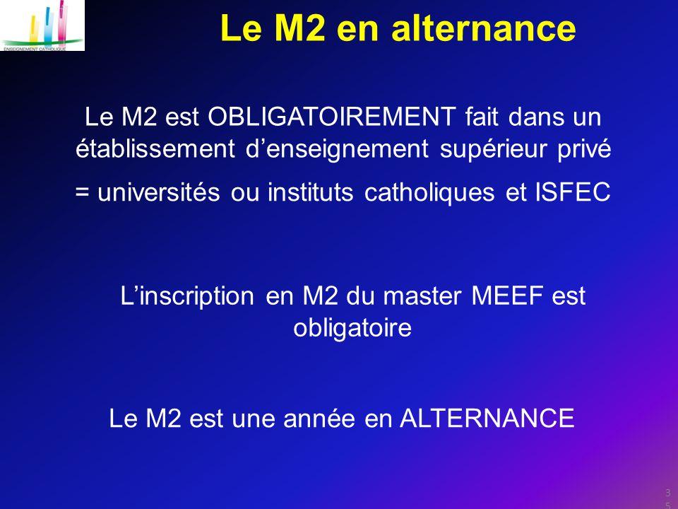 35 Le M2 en alternance Le M2 est OBLIGATOIREMENT fait dans un établissement d'enseignement supérieur privé Le M2 est une année en ALTERNANCE L'inscription en M2 du master MEEF est obligatoire = universités ou instituts catholiques et ISFEC