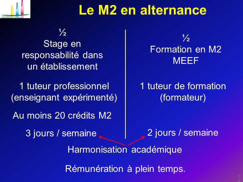 36 Le M2 en alternance ½ Stage en responsabilité dans un établissement ½ Formation en M2 MEEF 1 tuteur professionnel (enseignant expérimenté) 1 tuteur de formation (formateur) Rémunération à plein temps.
