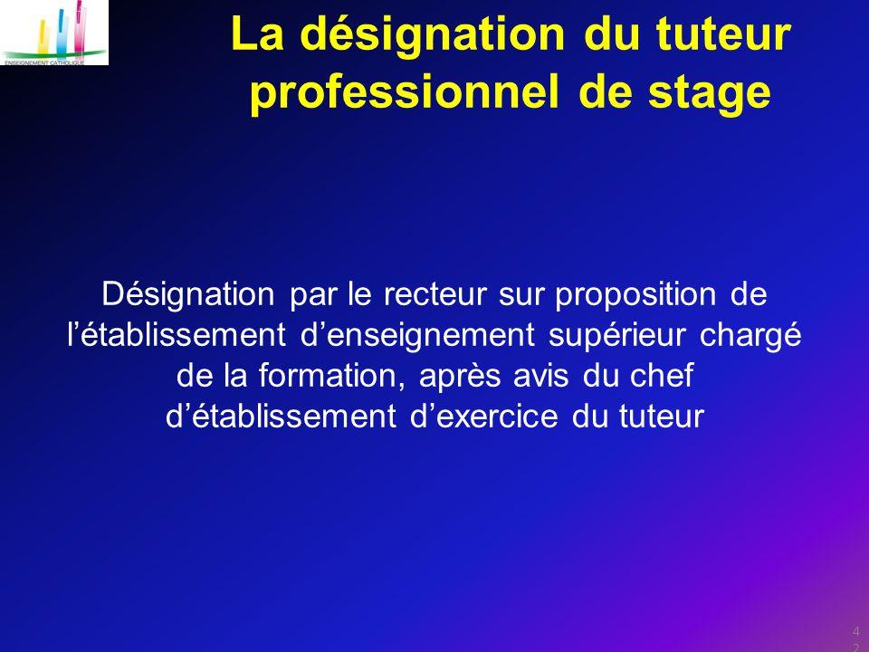 42 La désignation du tuteur professionnel de stage Désignation par le recteur sur proposition de l'établissement d'enseignement supérieur chargé de la formation, après avis du chef d'établissement d'exercice du tuteur