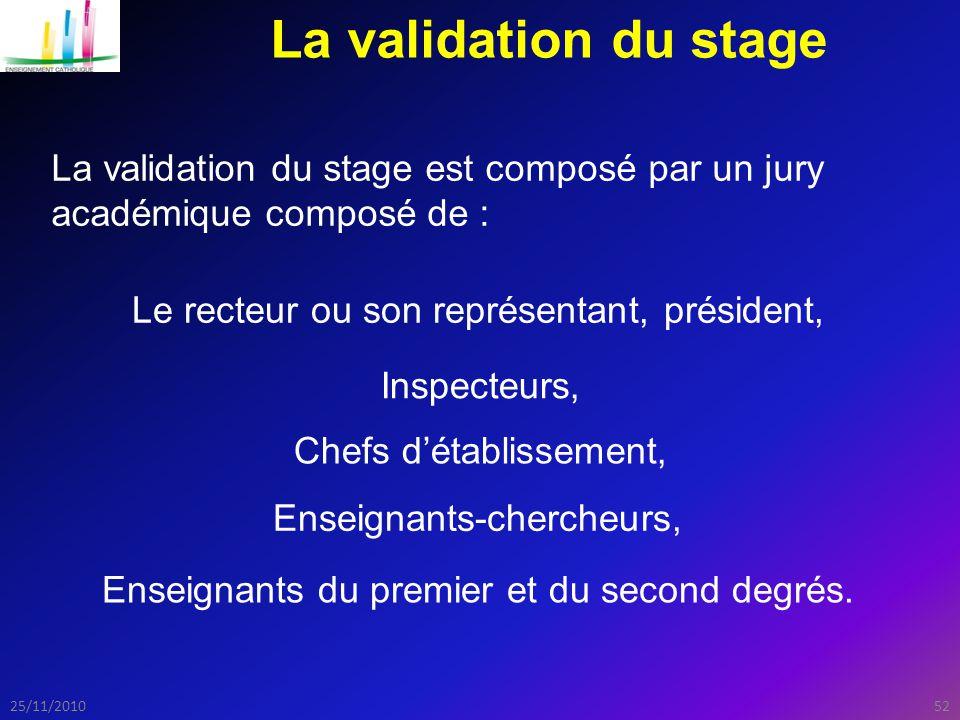 5225/11/2010 La validation du stage La validation du stage est composé par un jury académique composé de : Le recteur ou son représentant, président, Inspecteurs, Chefs d'établissement, Enseignants-chercheurs, Enseignants du premier et du second degrés.