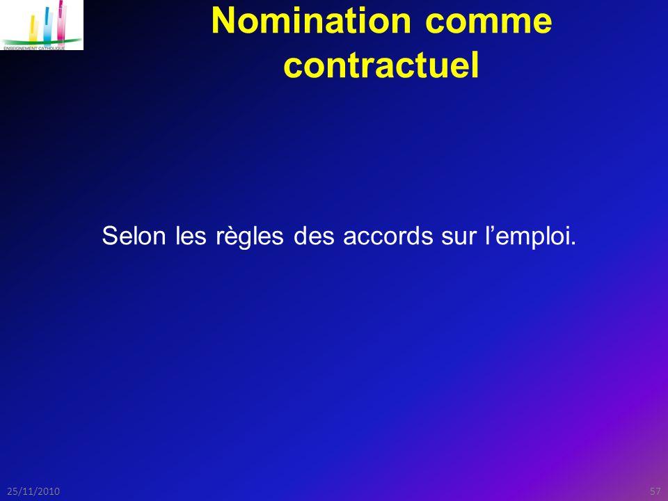 5725/11/2010 Nomination comme contractuel Selon les règles des accords sur l'emploi.