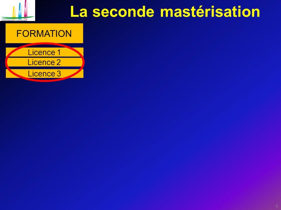 6 La seconde mastérisation FORMATION Licence 1 Licence 2 Licence 3