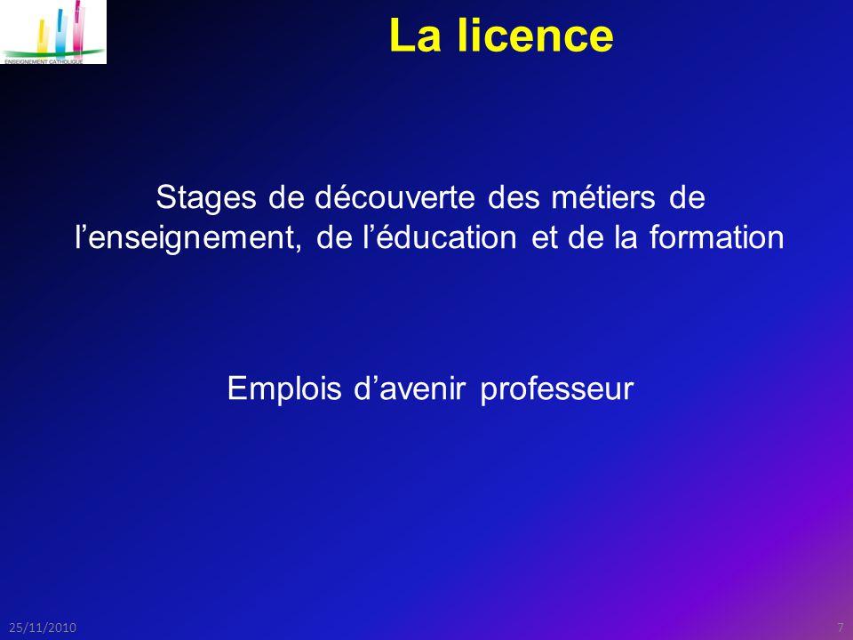 725/11/2010 La licence Stages de découverte des métiers de l'enseignement, de l'éducation et de la formation Emplois d'avenir professeur
