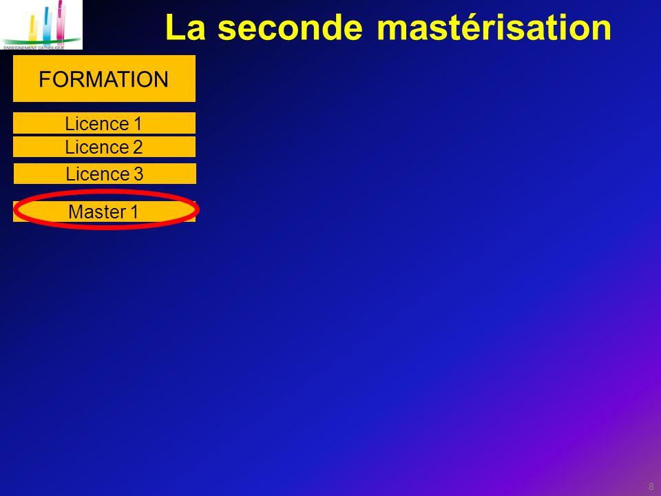 8 La seconde mastérisation FORMATION Master 1 Licence 1 Licence 2 Licence 3