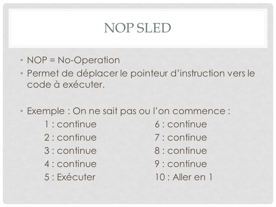 NOP SLED NOP = No-Operation Permet de déplacer le pointeur d'instruction vers le code à exécuter. Exemple : On ne sait pas ou l'on commence : 1 : cont