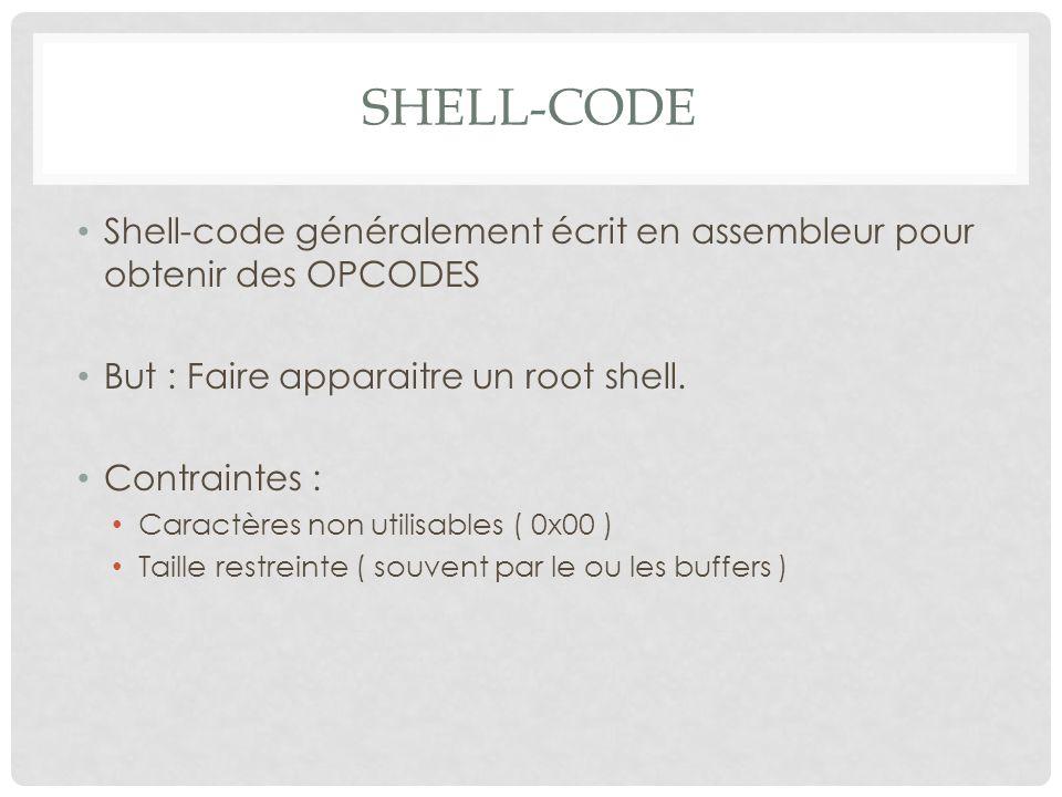 SHELL-CODE Shell-code généralement écrit en assembleur pour obtenir des OPCODES But : Faire apparaitre un root shell. Contraintes : Caractères non uti