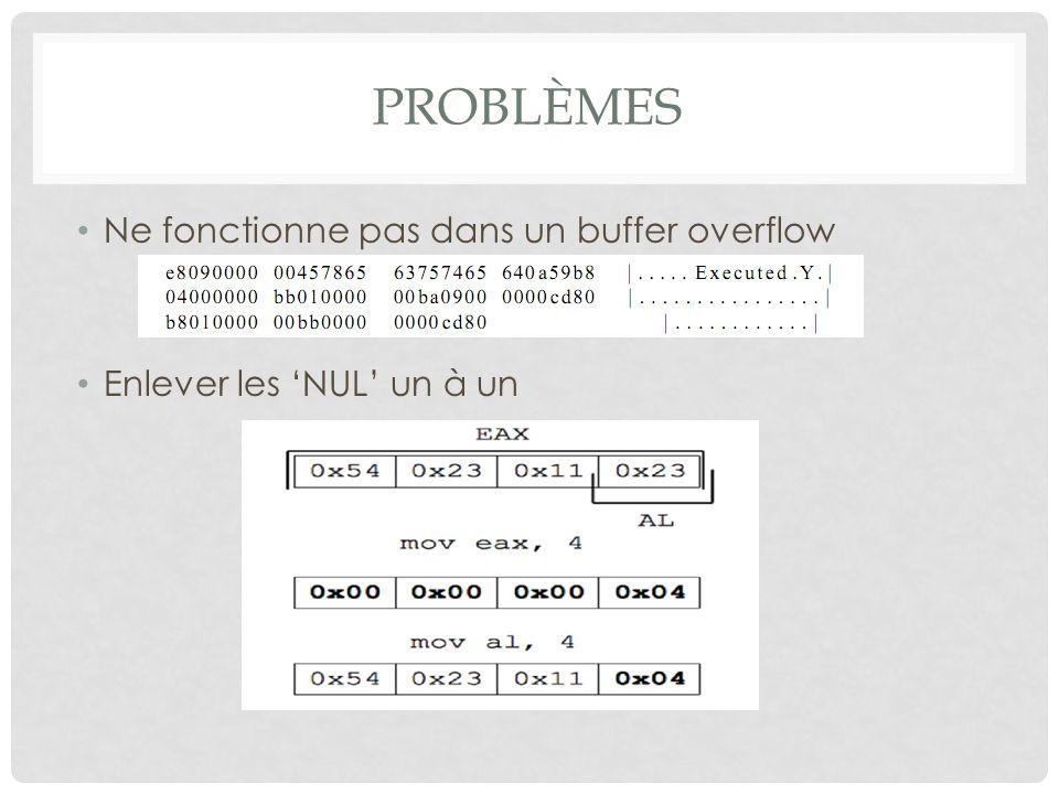 PROBLÈMES Ne fonctionne pas dans un buffer overflow Enlever les 'NUL' un à un