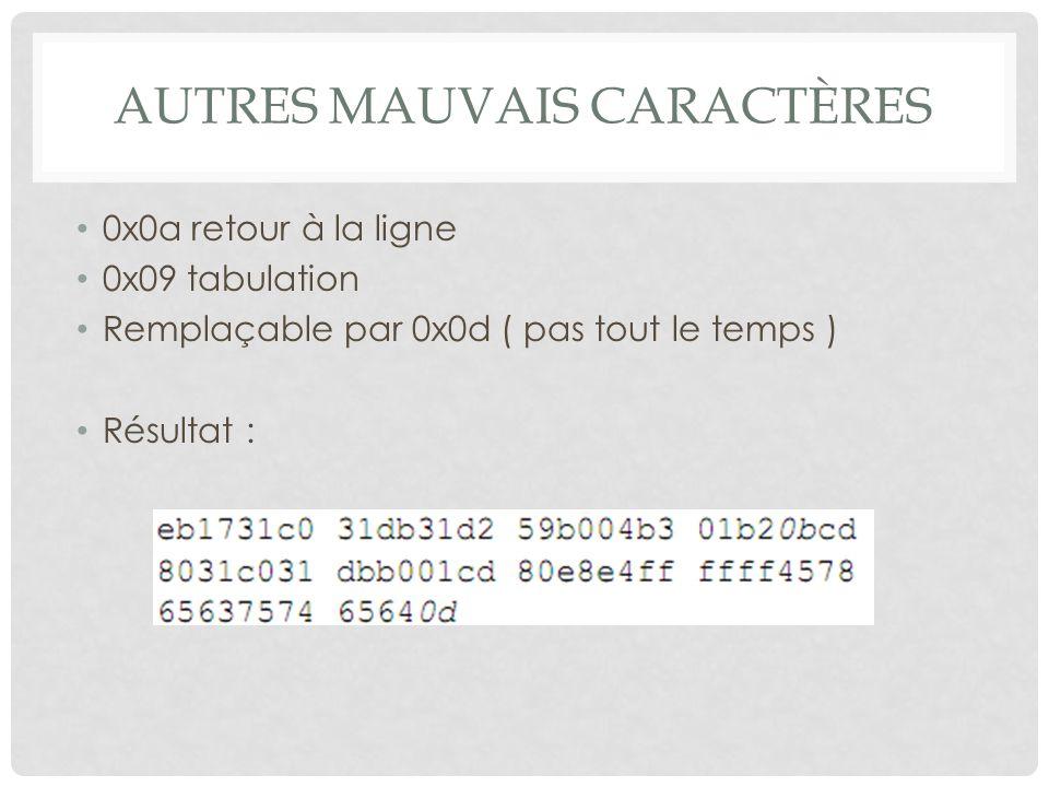 AUTRES MAUVAIS CARACTÈRES 0x0a retour à la ligne 0x09 tabulation Remplaçable par 0x0d ( pas tout le temps ) Résultat :