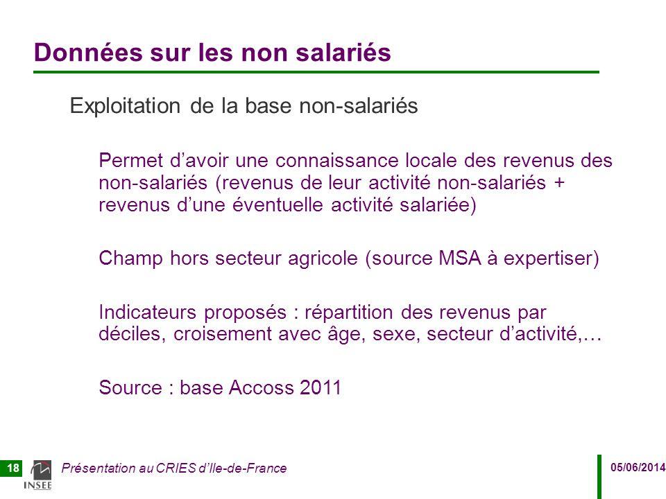 05/06/2014 Présentation au CRIES d'Ile-de-France 18 Données sur les non salariés Exploitation de la base non-salariés Permet d'avoir une connaissance