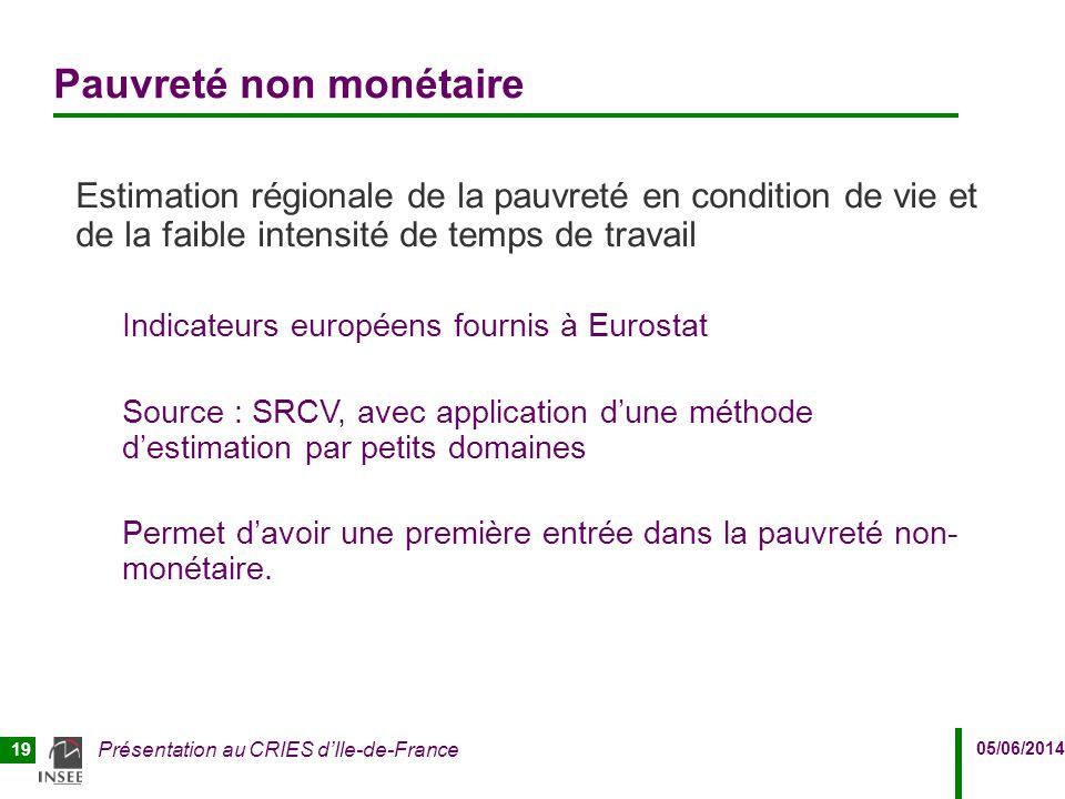 05/06/2014 Présentation au CRIES d'Ile-de-France 19 Pauvreté non monétaire Estimation régionale de la pauvreté en condition de vie et de la faible int