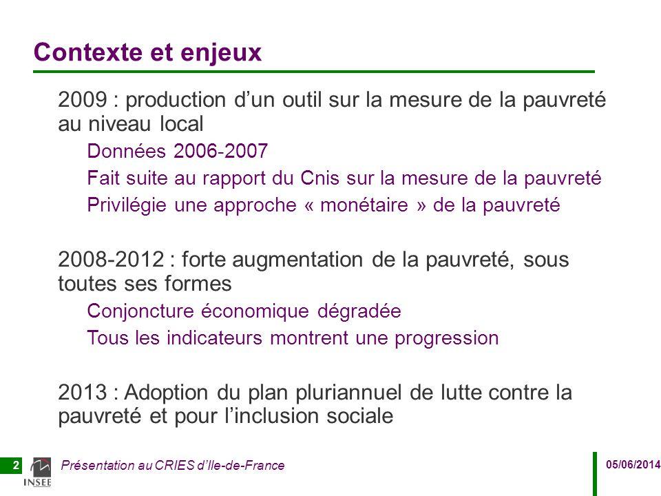 05/06/2014 Présentation au CRIES d'Ile-de-France 2 Contexte et enjeux 2009 : production d'un outil sur la mesure de la pauvreté au niveau local Donnée