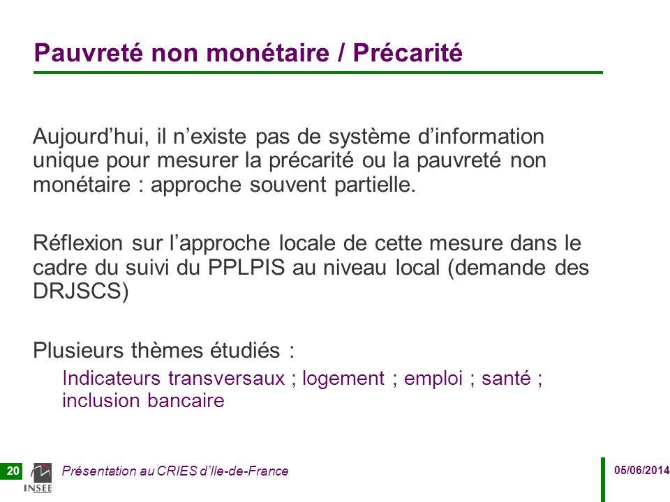 05/06/2014 Présentation au CRIES d'Ile-de-France 20 Pauvreté non monétaire / Précarité Aujourd'hui, il n'existe pas de système d'information unique po