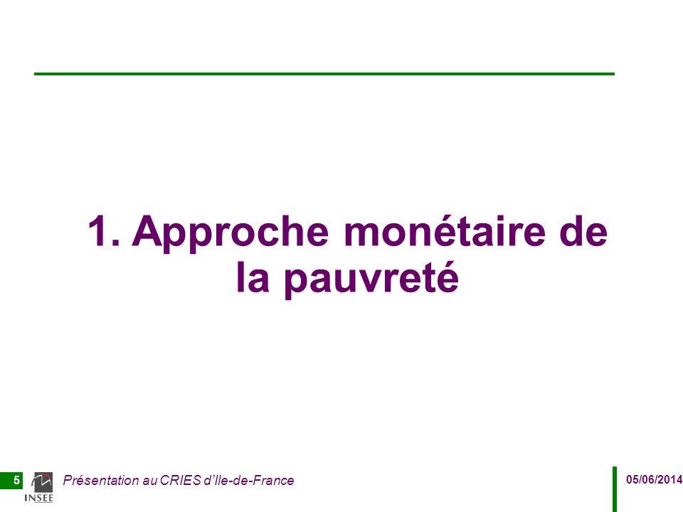 05/06/2014 Présentation au CRIES d'Ile-de-France 5 1. Approche monétaire de la pauvreté
