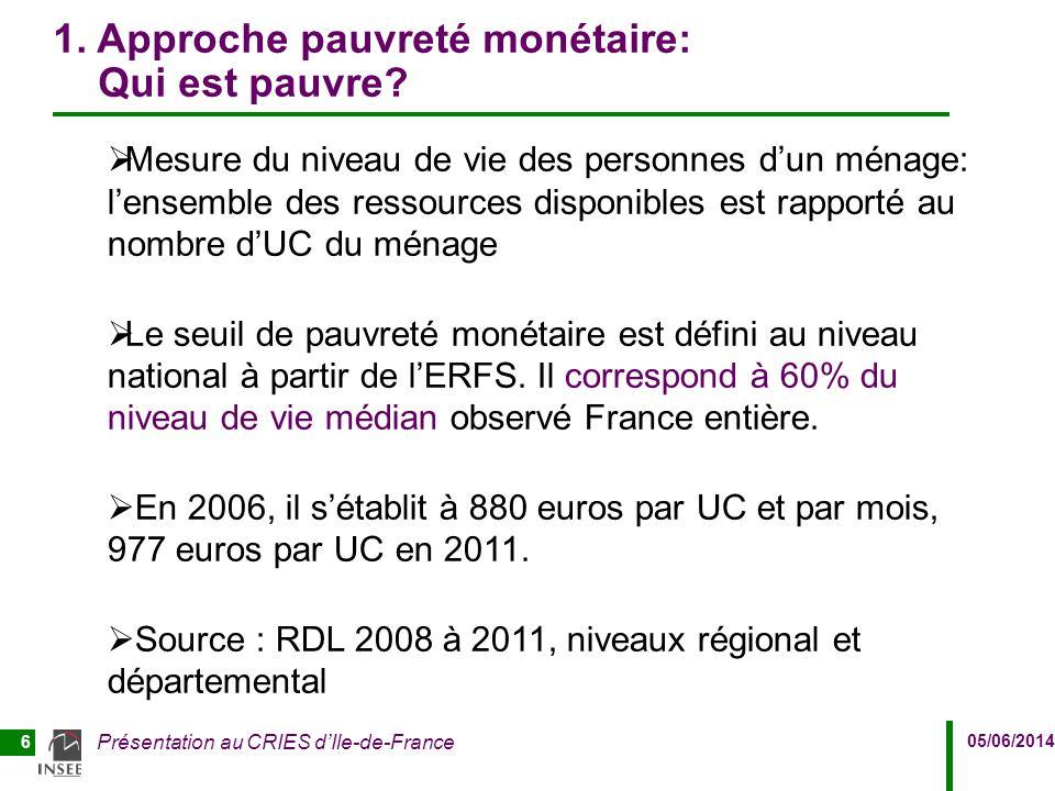 05/06/2014 Présentation au CRIES d'Ile-de-France 6 1. Approche pauvreté monétaire: Qui est pauvre?  Mesure du niveau de vie des personnes d'un ménage