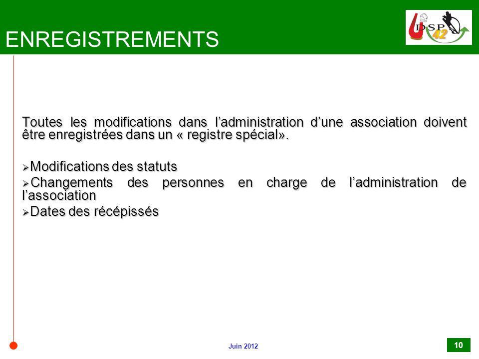 Juin 2012 10 ENREGISTREMENTS Toutes les modifications dans l'administration d'une association doivent être enregistrées dans un « registre spécial». 