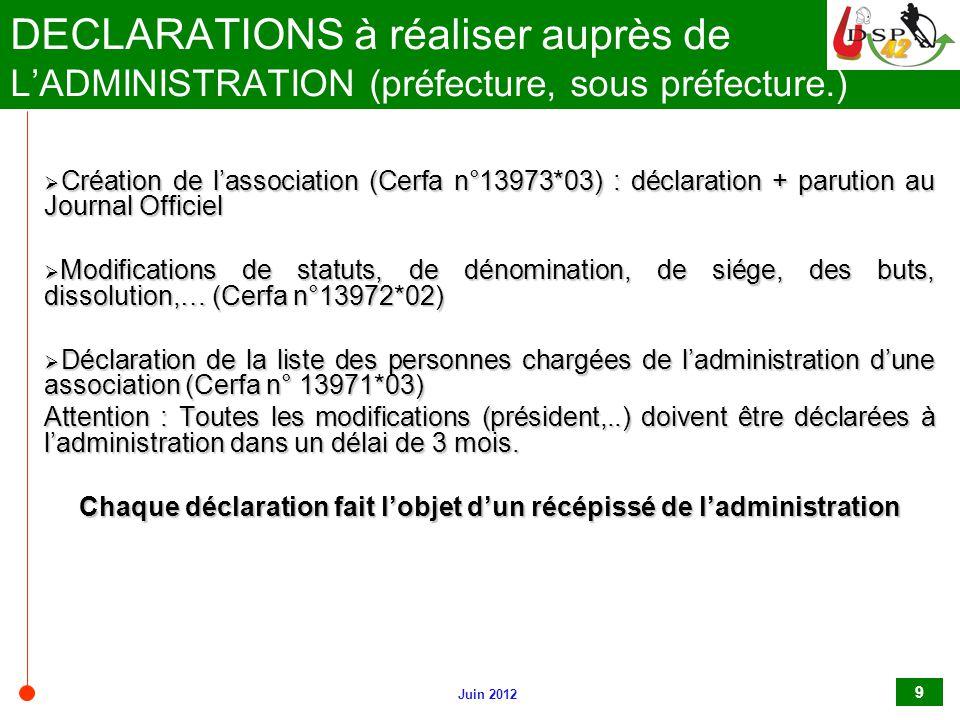 Juin 2012 9 DECLARATIONS à réaliser auprès de L'ADMINISTRATION (préfecture, sous préfecture.)  Création de l'association (Cerfa n°13973*03) : déclara