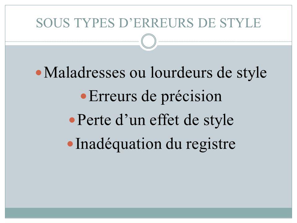 SOUS TYPES D'ERREURS DE STYLE Maladresses ou lourdeurs de style Erreurs de précision Perte d'un effet de style Inadéquation du registre