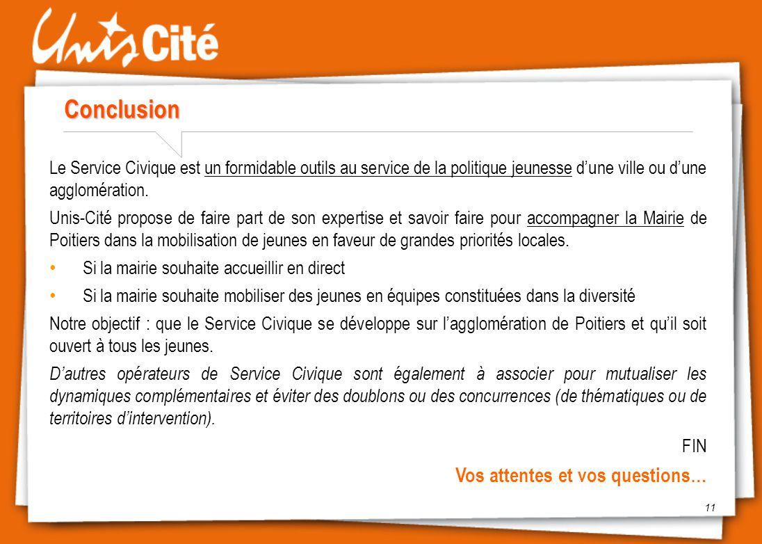 Conclusion 11 Le Service Civique est un formidable outils au service de la politique jeunesse d'une ville ou d'une agglomération. Unis-Cité propose de