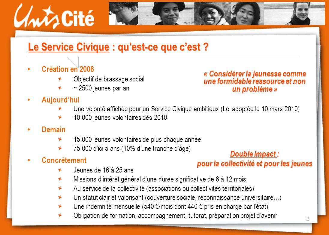 2 Le Service Civique : qu'est-ce que c'est ? Création en 2006 Objectif de brassage social ~ 2500 jeunes par an Aujourd'hui Une volonté affichée pour u