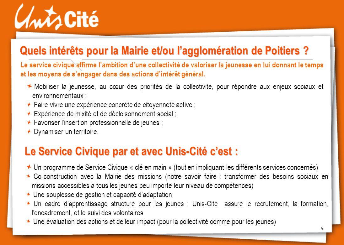 Quels intérêts pour la Mairie et/ou l'agglomération de Poitiers ? 8 Le service civique affirme l'ambition d'une collectivité de valoriser la jeunesse