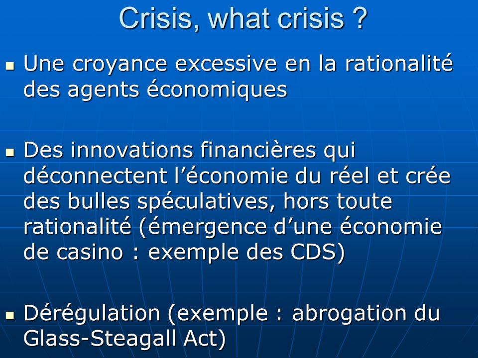 Crisis, what crisis ? Une croyance excessive en la rationalité des agents économiques Une croyance excessive en la rationalité des agents économiques
