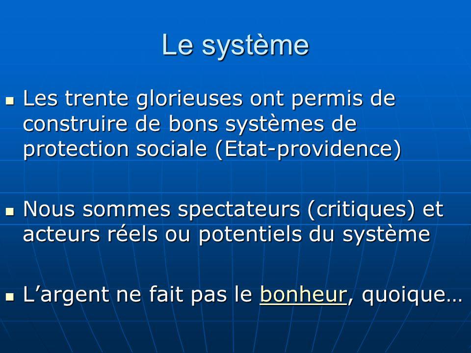 Le système Les trente glorieuses ont permis de construire de bons systèmes de protection sociale (Etat-providence) Les trente glorieuses ont permis de