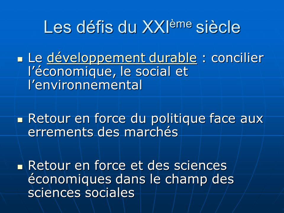 Les défis du XXI ème siècle Le développement durable : concilier l'économique, le social et l'environnemental Le développement durable : concilier l'é
