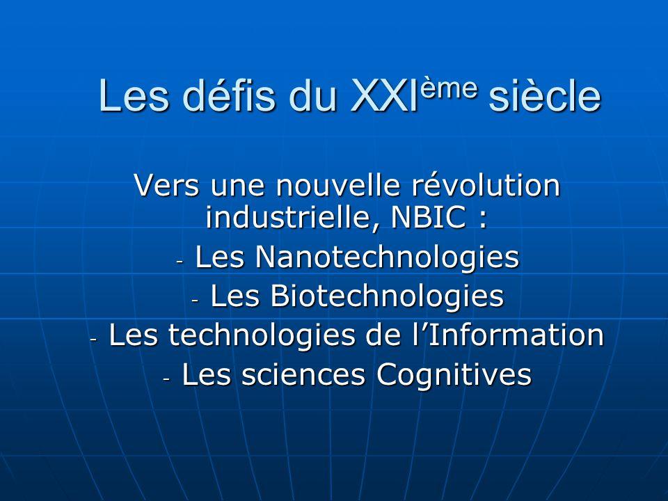 Vers une nouvelle révolution industrielle, NBIC : - Les Nanotechnologies - Les Biotechnologies - Les technologies de l'Information - Les sciences Cognitives Les défis du XXI ème siècle