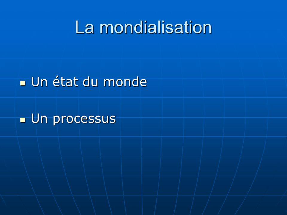 La mondialisation Un état du monde Un état du monde Un processus Un processus
