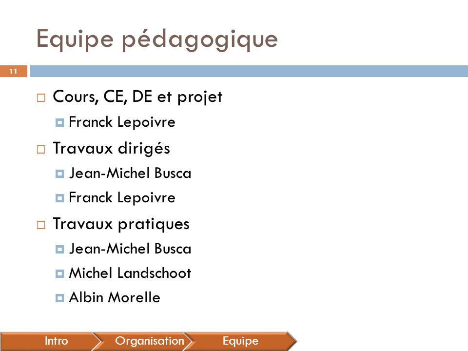 Equipe pédagogique  Cours, CE, DE et projet  Franck Lepoivre  Travaux dirigés  Jean-Michel Busca  Franck Lepoivre  Travaux pratiques  Jean-Mich