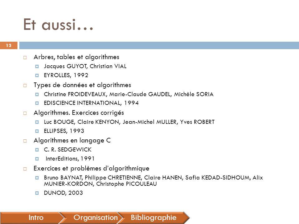 Et aussi…  Arbres, tables et algorithmes  Jacques GUYOT, Christian VIAL  EYROLLES, 1992  Types de données et algorithmes  Christine FROIDEVEAUX,