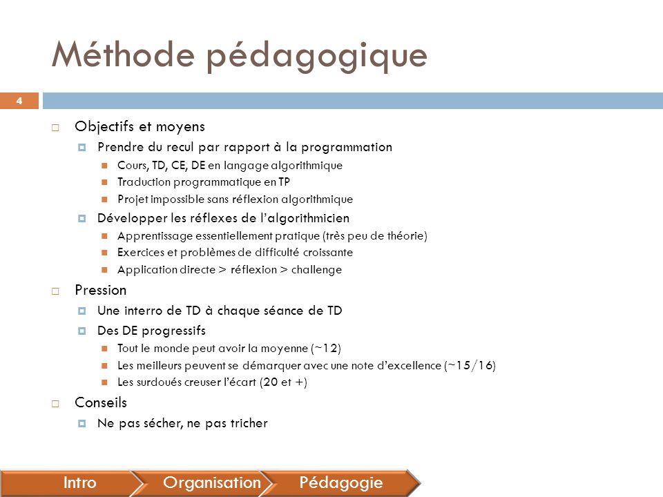 Méthode pédagogique  Objectifs et moyens  Prendre du recul par rapport à la programmation Cours, TD, CE, DE en langage algorithmique Traduction prog