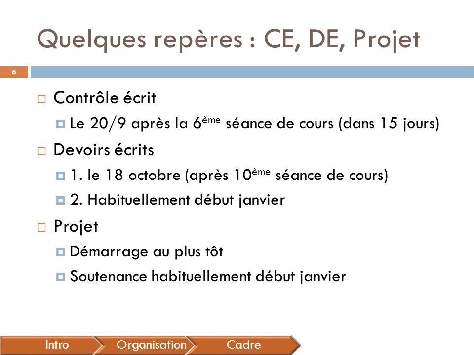 Quelques repères : CE, DE, Projet  Contrôle écrit  Le 20/9 après la 6 ème séance de cours (dans 15 jours)  Devoirs écrits  1. le 18 octobre (après